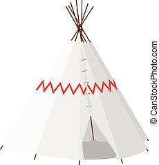 Wigwam with pattern - Wigwam vector isolated on white,...