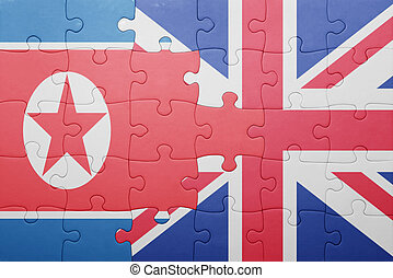 puzzle with the national flag of great britain and north...