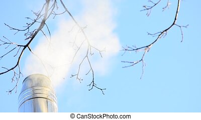 Smoke from the chimney - White smoke or steam coming out of...