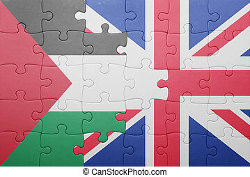 puzzle with the national flag of great britain and palestine...