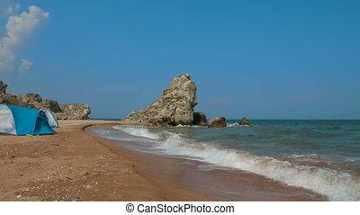 Sea Waves Rolling Ashore Washing The Beach - Beautiful...