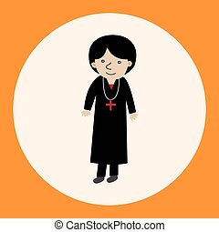 pastor and nun theme elements vector,eps