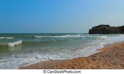 Foamy Sea Waves Rolling Ashore The Beach
