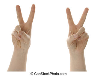 victory or peace symbol with hands - two hands giving peace...