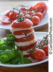 Tomato, mozzarella salad - Tomato, mozzarella tower with...