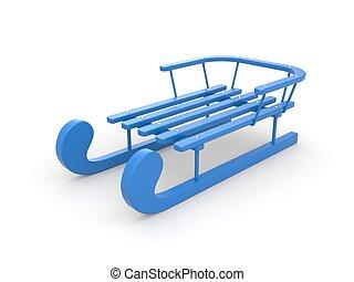 Blue sled - 3D rendered blue sled on white background