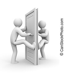 Confrontation - People on the sides of the door