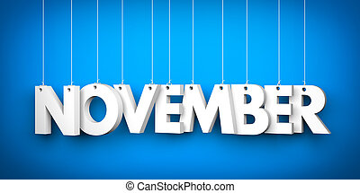 November word - suspended by ropes