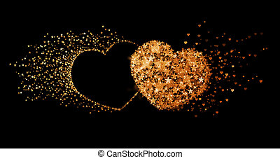 Two golden hearts on black background Concept of eternal...