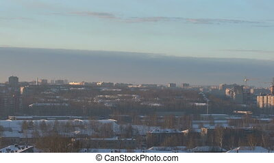 Panorama of city landscape in winter time