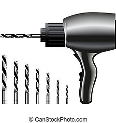 Power Vector Drills - Realistic power vector drills on white...