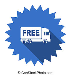 free delivery blue flat icon