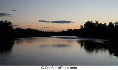 American River Sacramento CA - Still Twilight Over American...