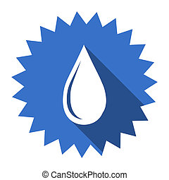 water drop blue flat icon