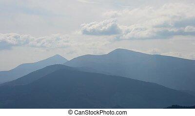 Beautiful bubbling clouds over Carpathian Mountains