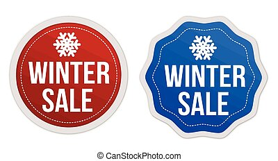 Winter sale stickers set