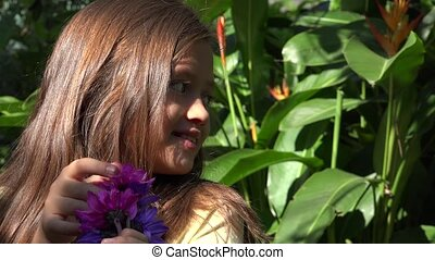 Female Child and Flowers