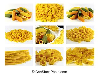 Italian pasta collection - collage, raw color pasta mix...