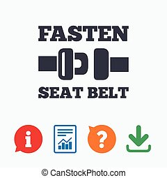 Fasten seat belt sign icon Safety accident Information think...