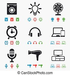 Home appliances, device icons Ventilator sign Hairdryer,...