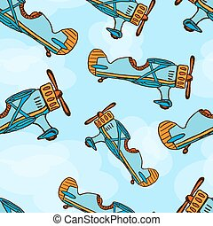 Vector hand draw cartoon airplane seamless background Eps10