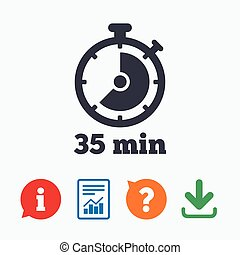 Timer sign icon 35 minutes stopwatch symbol Information...