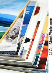 Magazines, Color magazines on white background