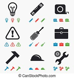 Repair, construction icons Engineering signs - Repair,...