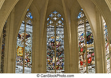 Leaded panes in medieval catholic cathedral