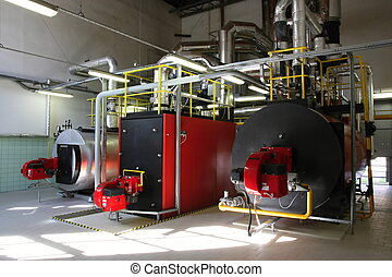 Gas steam boiler, Interior independent modern gas...