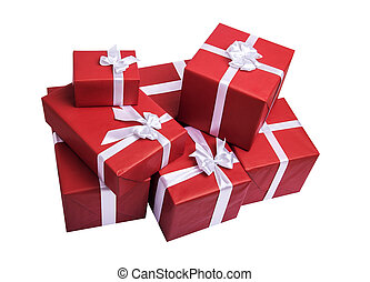Red gift boxes with white ribbon.