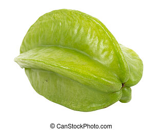 green unripe starfruit - Carambola, also known as starfruit...