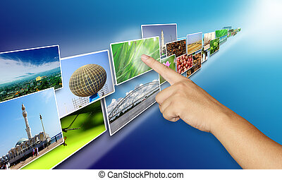 Pointing Finger on Images Stream, Internet Concept
