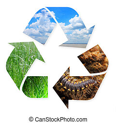 Recycling Symbol with Nature Images in it