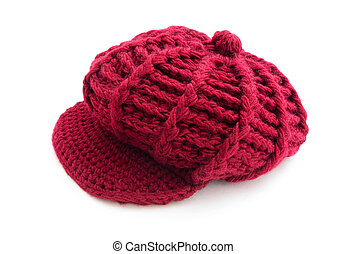 Red wool cap - Winter red wool cap isolated on white