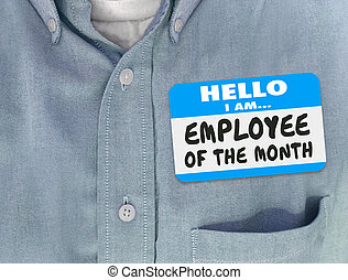 Employee of the Month Name Tag Blue Shirt Welcome Onboarding...