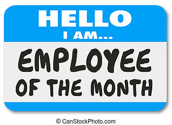 Employee of the Month Name Tag Sticker Best Top Worker -...
