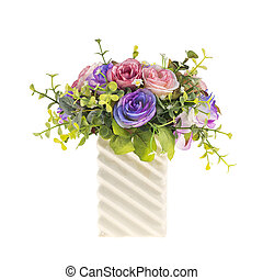Artificial flowers in white vase on isolated  background