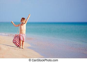 nyár, gyalogló, boldog, tengerpart, gyermek