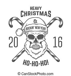 Bad Santa Claus biker with candy cones print design. Vintage Heavy metal Christmas portrait. Rock and roll 2016 new year t-shirt illustration.