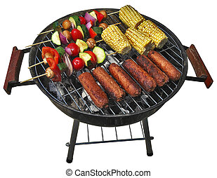 summer barbecue - summer patio barbecue isolated with...