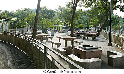 Outdoor barbeque place at daytime - Outdoor barbecue place...