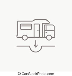 Motorhome and sump line icon - Motorhome and sump line icon...