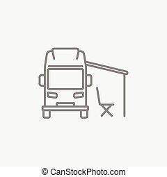 Motorhome with tent line icon. - Motorhome with tent line...