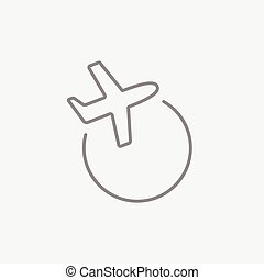 Travel by plane line icon. - Travel by plane line icon for...