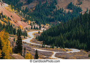 Million dollar highway Colorado - Scenic autumn landscape by...