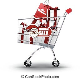 Christmas shopping - Illustration of Christmas shopping and...
