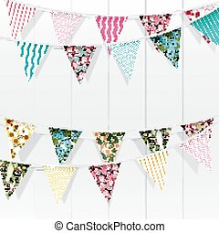 Bunting flags decoration - Illustration of Bunting flags...