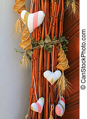 Hearts and woven corn dolly - Hearts and spirally woven corn...