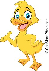 Cartoon funny duck presenting - Vector illustration of...